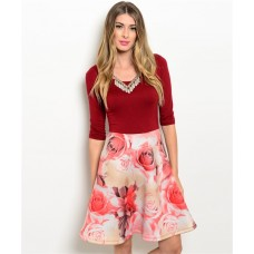 ROSES  BURGANDY DRESS