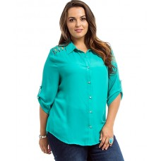 Green Lace Collar Pocket Shirt