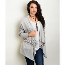 GRAY BROWN PLUS SIZE TRIBAL CARDIGAN