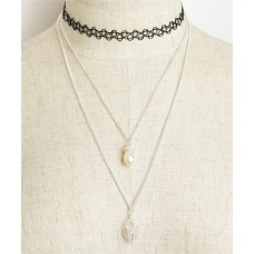 DOUBLE CHAIN PEARL CHOKERS