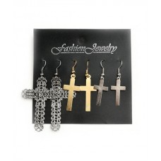 CROSS SHAPE MULTI SIZE EARRINGS
