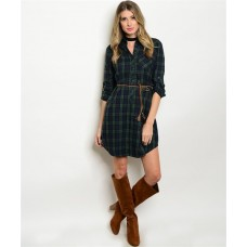 OLIVE NAVY PLAID DRESS